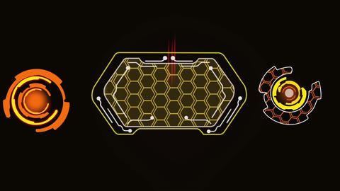 Sci fi behive style user interface design element HUD After Effects Template