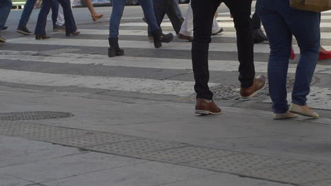 Feet crossing the street in downtown Buenos Aires in slow motion series 3 Footage