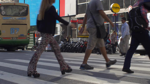 People crossing the street in downtown Buenos Aires series 4 Footage