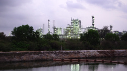 Oil Refinery Petrochemial Factory-Early Morning stock footage