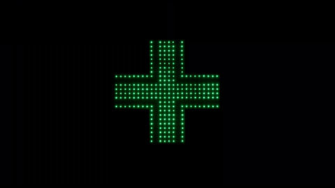 Classical Pharmacy Led Light Cross In Green stock footage