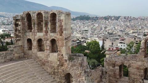 Ancient theatre near a Parthenon temple, Athenian Acropolis, Greece ビデオ
