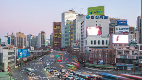 Night to day time lapse of Traffic in Seoul, South Korea timelapse 4K Footage