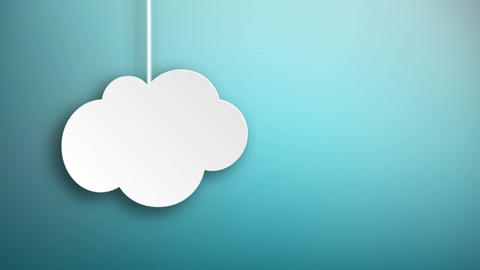 Paper clouds hanging on strings falling from the with blue background Animation
