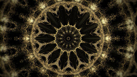 Golden Kaleidoscopic Sun Flower Sparking Motion VJ Loop Footage