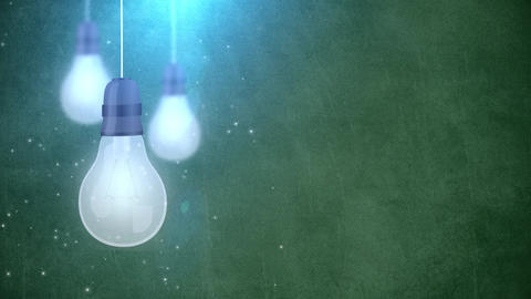 glowing bulb bulbs falling down hanging on string green background Animation
