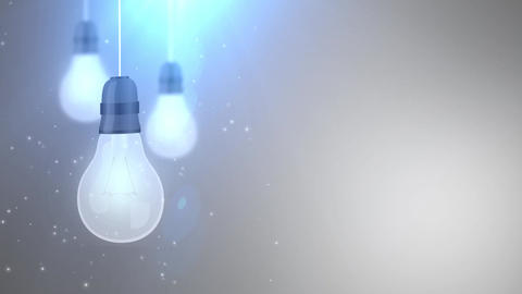 glowing bulb bulbs falling down hanging on string white background Animation