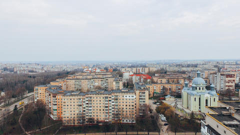 Aerial view of city, park, road from a bird's eye view. Ukraine Ternopil Photo