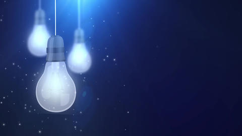 glowing bulb bulbs falling down hanging on string blue background Animation