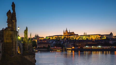 Day to night timelapse of Prague old town in Czech Republic at night time lapse Footage