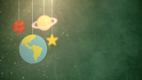 flat design planets falling down hanging on string green background star earth Animation