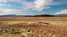 Beautiful volcanic landscape in autumn close to Thingvellir Nation Park Iceland Footage