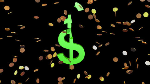 Money, gold coins spinning , floating,rising. Dollar sign breaking . 3d render Videos animados