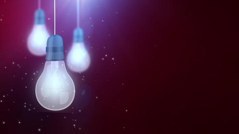 glowing bulb bulbs falling down hanging on string red background Animation