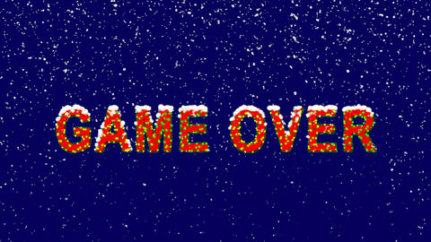 New Year text common expression GAME OVER. Snow falls. Christmas mood, looped Animation