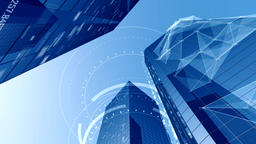 Abstract Digital City Background withSkyscrapers and Sky Animation