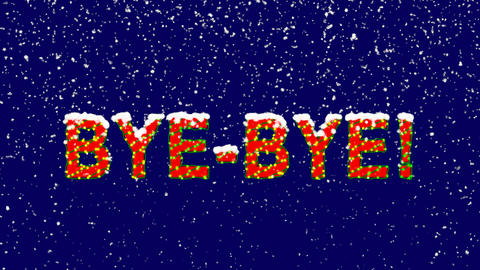 New Year text common expression BYE-BYE!. Snow falls. Christmas mood, looped Animation