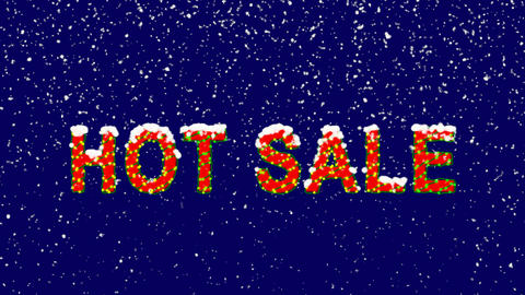 New Year text text HOT SALE. Snow falls. Christmas mood, looped video. Alpha Animation