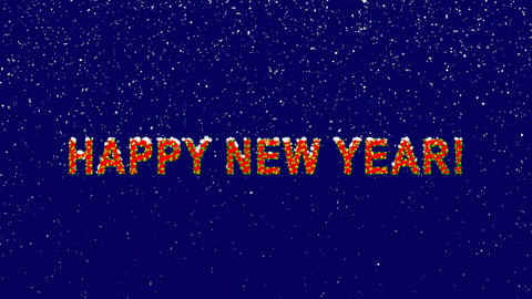 New Year text congratulation HAPPY NEW YEAR!. Snow falls. Christmas mood, looped Animation