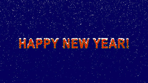 New Year text congratulation HAPPY NEW YEAR!. Snow falls.... Stock Video Footage