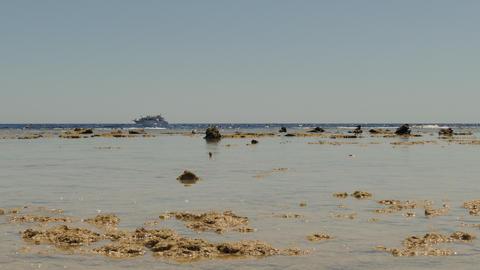 Boat In Sea, Low Tide, Landscape Footage