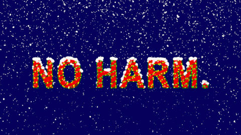 New Year text common expression NO HARM.. Snow falls. Christmas mood, looped Animation