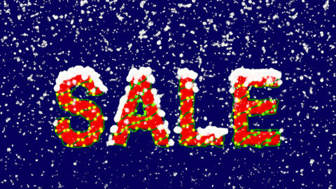 New Year text text SALE. Snow falls. Christmas mood, looped video. Alpha channel Animation