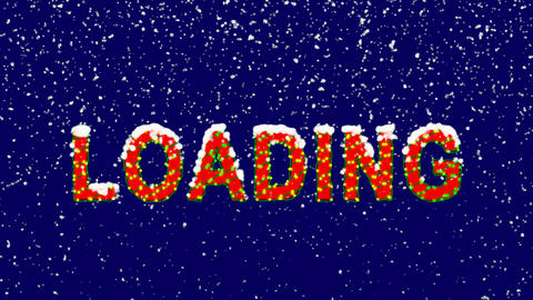 New Year text text LOADING. Snow falls. Christmas mood, looped video. Alpha Animation