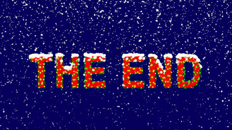 New Year text common expression THE END. Snow falls. Christmas mood, looped Animation