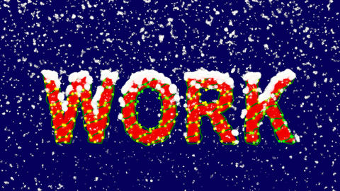 New Year text text WORK. Snow falls. Christmas mood, looped video. Alpha channel Animation