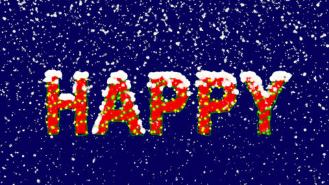 New Year text text HAPPY. Snow falls. Christmas mood, looped video. Alpha Animation