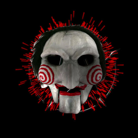 Saw Jigsaw Clown Horror Mask With Red Energy Frame VJ Loop Footage