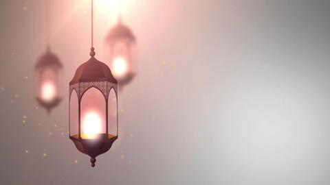 Ramadan candle lantern falling down hanging on string grey background Animation