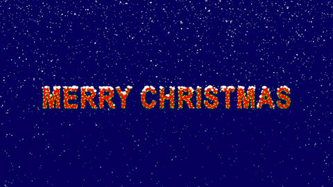 New Year text congratulation MERRY CHRISTMAS. Snow falls. Christmas mood, looped Animation