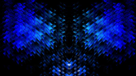 Pulsing Blue Silver Sparkling Geometrical Particle Pulsing Jumping Grid VJ Loop Live Action