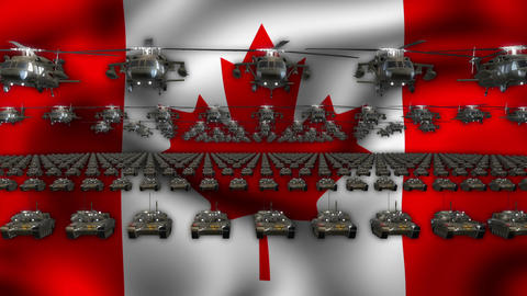 Canada Army Flag Heavy War Machinery VJ Loop Live Action