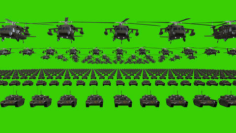 Chromakey Army Flag Heavy War Machinery VJ Loop Footage