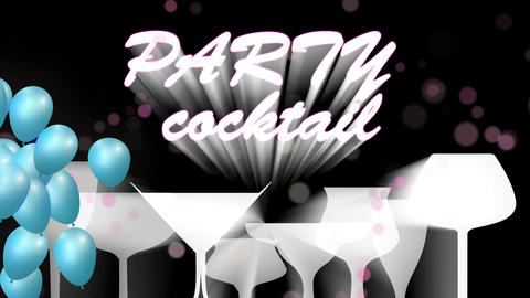 Cocktail icon color animation loop.Cocktail party balloons.Alcohol background CG動画素材