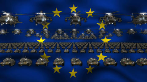 EU Army Flag Heavy War Machinery VJ Loop Footage