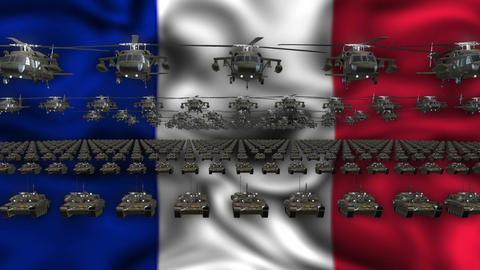 French Army Flag Heavy War Machinery VJ Loop Footage