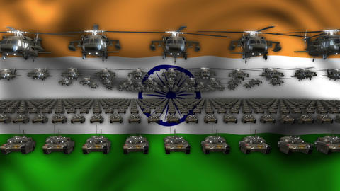 India Army Flag Heavy War Machinery VJ Loop Footage