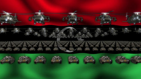 Libia Flag Heavy War Machinery VJ Loop Live Action