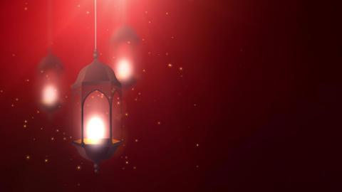 Ramadan candle lantern falling down hanging on string red background Animation
