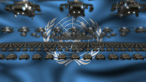 UN Army Flag Heavy War Machinery VJ Loop Live Action