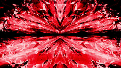 Lovely Red Liquid Crystal Flower Motion Tunnel Sparkling Shiny Rays VJ Loop Footage