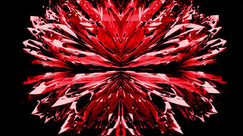 Lovely Red Liquid Crystal Flower Motion Tunnel Sparkling... Stock Video Footage