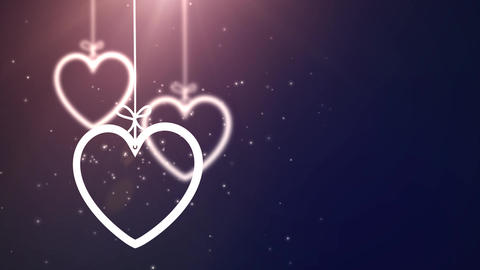 paper valentine hearts falling down hanging on string… Stock Video Footage