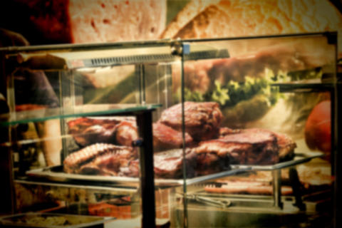 Blur, Street food, background image, Baked meat, glass showcase フォト