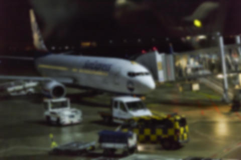 Blur, background Airport, Boarding passengers in plane, luggage Photo