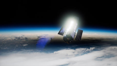 Hubble Space Telescope orbiting Earth. Elements of this image furnished by NASA Live Action